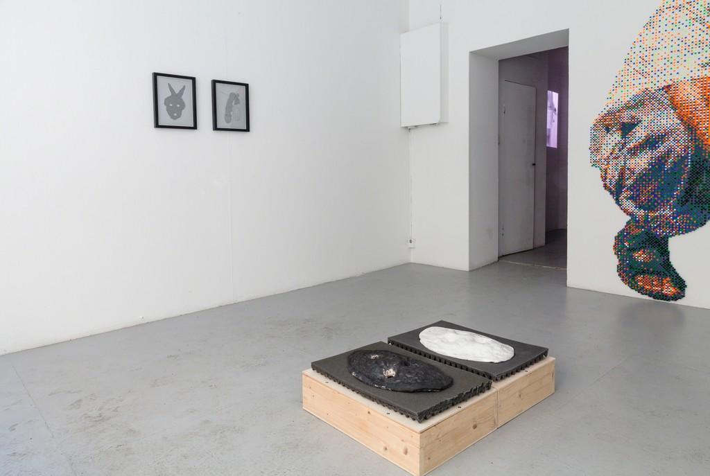 """exhibition #3: (left) """"In Folge I and II"""", stöckerselig (Basel), (background) """"It's a Mügge life"""", video, Sebastian Mügge (Umea, SE) and (right) """"like a sphere"""", Sibylle Feucht (Bonn, GER)"""