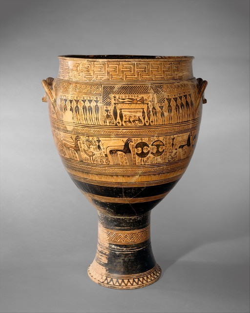 Attributed to the Hirschfield Workshop, 'Terracotta krater', ca. 750–735 B.C., The Metropolitan Museum of Art