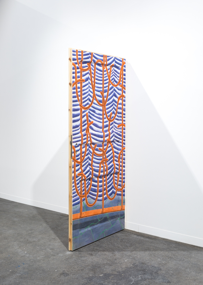 Untitled, 2017 Gouache and watercolor on wooden door 198,5 x 86 cm