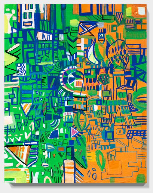 Miriam Singer, 'Green and Orange Map', 2019, Painting, Acrylic on panel, Paradigm Gallery + Studio