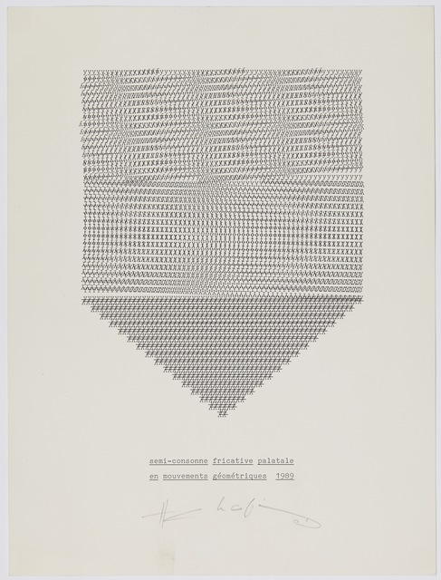 , 'semi-consonne fricative palatale en mouvements géométriques,' 1989, Supportico Lopez