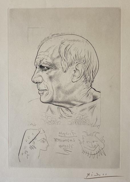 """Pablo Picasso, 'Paul Lemagny """"Portrait de Picasso"""" et Remarque by Pablo Picasso pour 'Temoignage'', 1956, Denis Bloch Fine Art"""