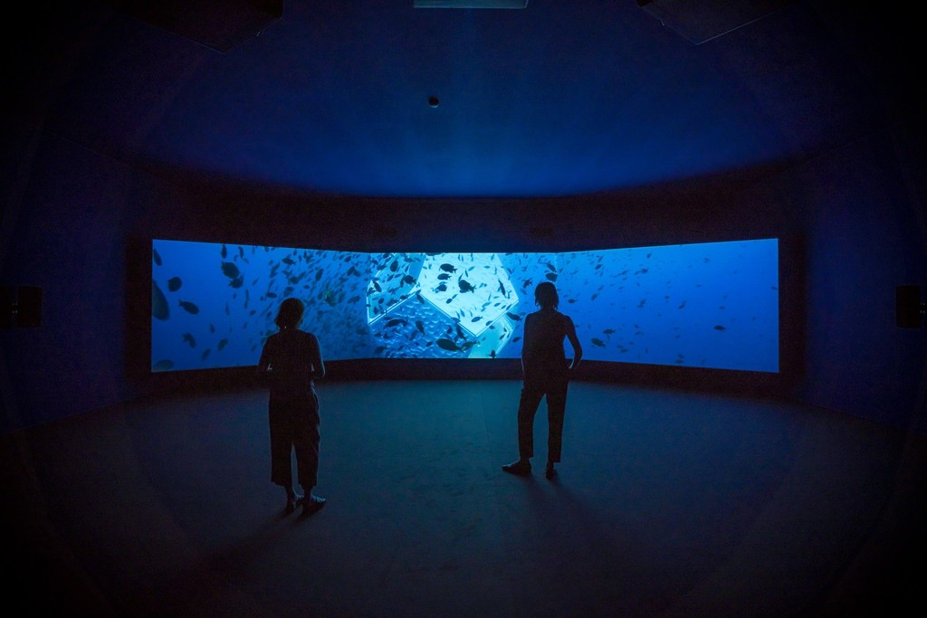 Installation view, Doug Aitken, Underwater Pavilions (video installation), 2017, Art Basel Unlimited, Basel, Stand U70 Hall 1, June 15-18, 2017.