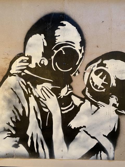 "Banksy, '""Think Tank"" original spray on cardboard.', 2003, MultiplesInc Projects"
