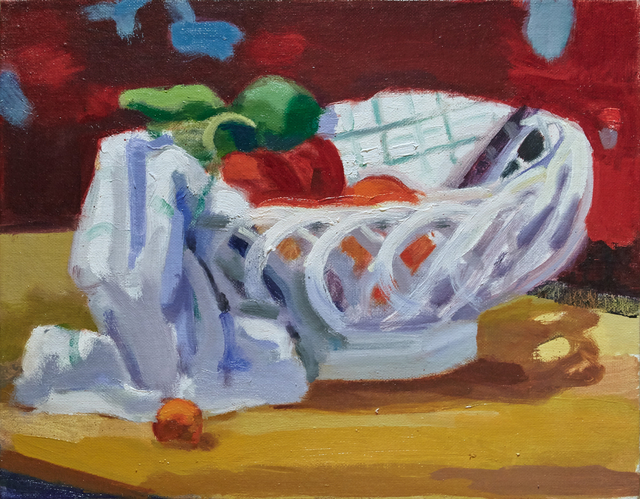 , 'Ceramic Basket with Towel and Fruit,' 2016, BCK Fine Arts Gallery at Montauk