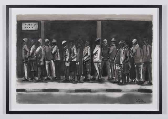 Sam Nhlengethwa, 'Evening queue', 2018, Goodman Gallery