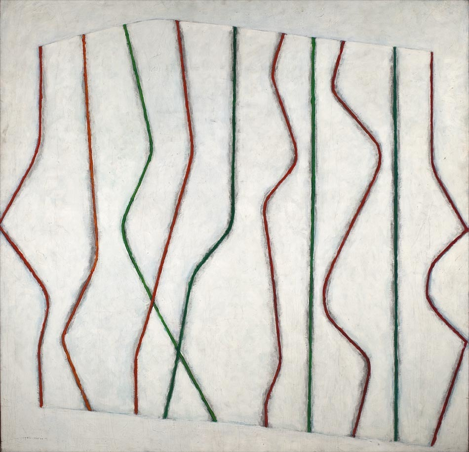 """White on white with red and green stripes""