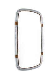 a mod. 20 mirror with a wooden and mirrored glass structure