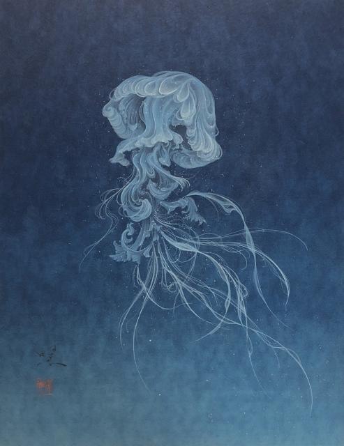 Yoji Kumagai, 'Jellyfish', 2019, Painting, Mineral pigments on Japanese paper mounted on wood panel, SEIZAN Gallery