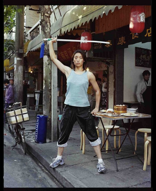 , 'Zhou Yun, championne de Kung Fu, devant un restaurant de Taikang Lu, novembre 2002, Shanghai 周云,功夫冠军,在上海太康路的一家餐厅前,2002年11月,上海,' 2002, Shanghai Gallery of Art