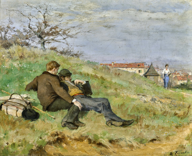 Émile Friant, 'TWO ARTISTS: MATHIAS SCHIFF AND CAMILLE MARTIN (LE REPOS DES ARTISTES)', ca. 1880, Painting, Oil on canvas, Gallery 19C