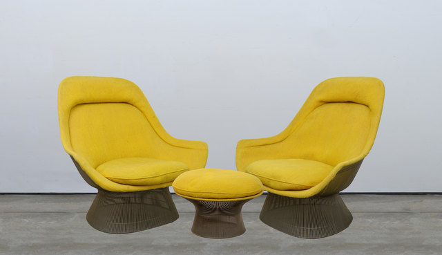 Warren Platner, 'Pair of Lounge Chairs and Ottoman', Design/Decorative Art, Steel wire frames with vintage upholstery (foam deteriorated), Capsule Gallery Auction