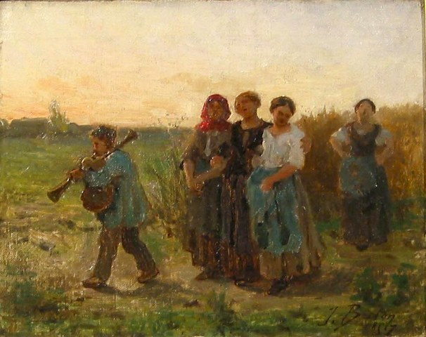 Jules Breton, 'Women Singing, End of Day', 1857, Painting, Oil on canvas, Taylor | Graham