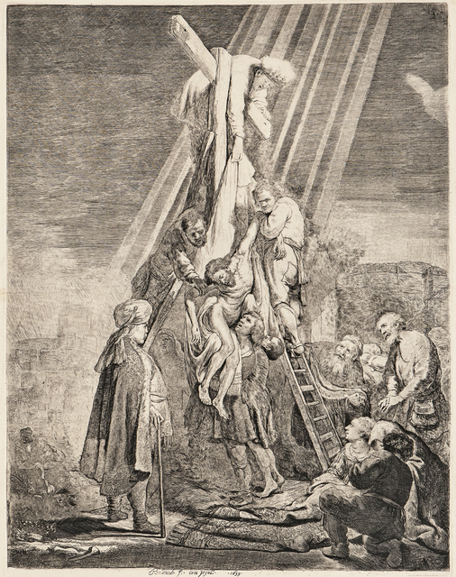 Rembrandt van Rijn, 'The Descent from the Cross', 1633-a 19th century impression, Print, Etching on thick cream wove paper, Skinner