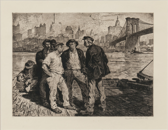 Dock Workers under the Brooklyn Bridge