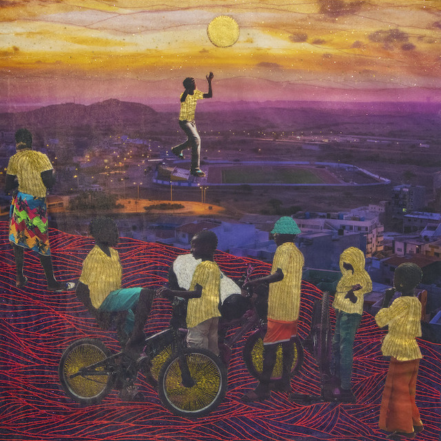 Joana Choumali, 'But some of them were able to fly', 2020, Mixed Media, Embroidery on digital photography printed on canvas, Loft Art Gallery