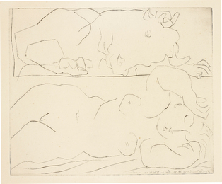 Pablo Picasso, 'Minotaure contemplant amoureusement une dormeuse (Minotaur Tenderly Admiring a Sleeping Woman),' 1933, Phillips: Evening and Day Editions