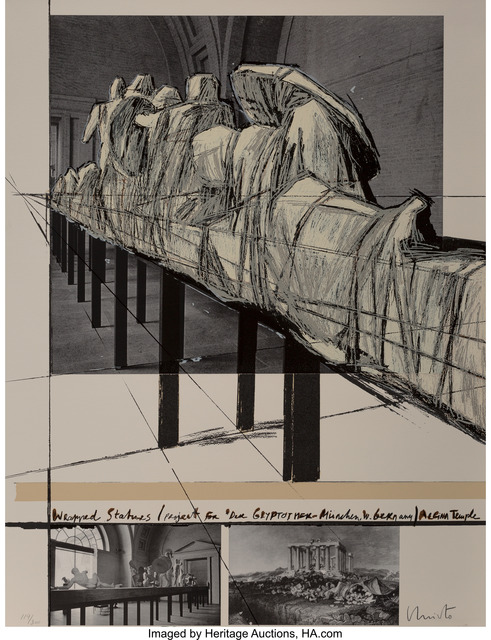 Christo, 'Aegina Temple - Project for the Munich Glyptotek, from Official Arts Portfolio of the XXIVth Olympiad, Seoul, Korea', 1988, Heritage Auctions