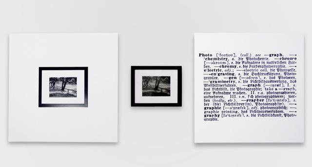 Joseph Kosuth, 'One and Three Photograph [Eng./Germ.]', 1965, Installation, 1 original b/w framed photograph, 2 b/w mounted photos, Mireille Mosler Ltd.