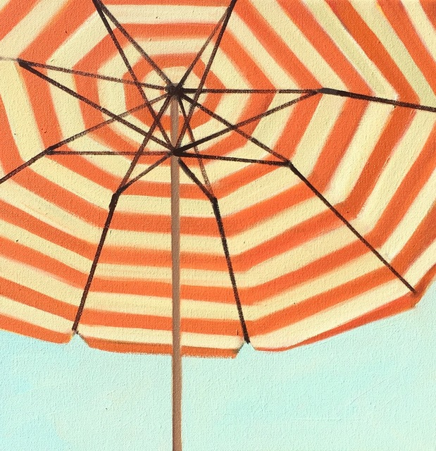 ", '""Orange and White Striped Umbrella"" small brightly colored close up oil painting,' 2018, Eisenhauer Gallery"
