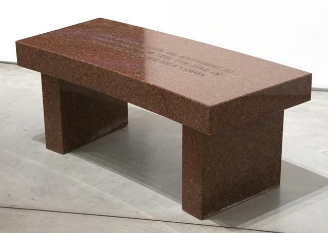 Jenny Holzer, 'Survival: Hide under water…', 1989, Sculpture, Red granite, Heather James Fine Art
