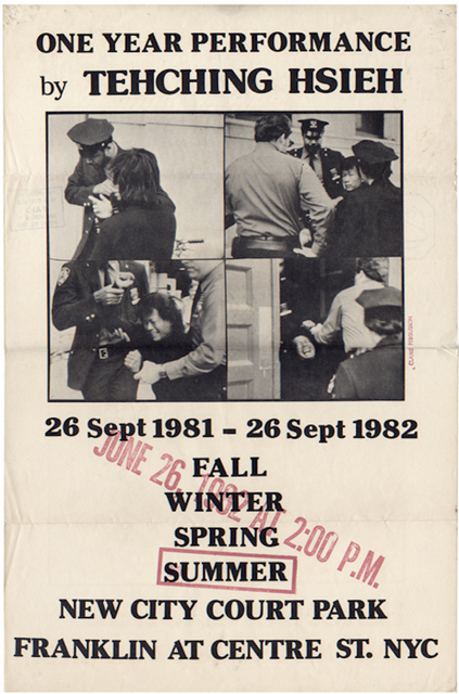 , 'Sam Hsieh, One Year Performance: Outdoors - Summer, Poster,' 1982, James Fuentes