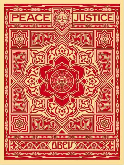 Shepard Fairey, 'OBEY - Peace & Justice Ornament [Red]', 2012, Print, Screen-Print, Samuel Owen Gallery
