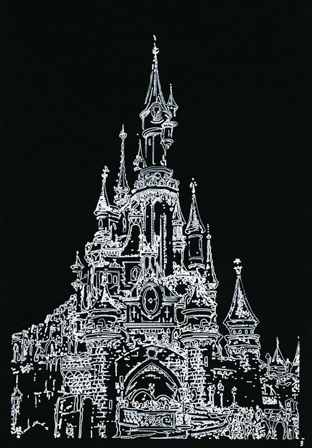 Joachim Biehler, 'Castle', 2017, Drawing, Collage or other Work on Paper, White Ink on black paper (160 grammes), Galerie Geraldine Banier
