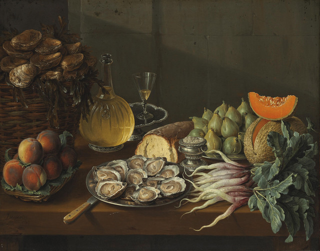 François Desportes, 'Le Déjeuner maigre: oysters, bread, wine, peaches, pears, melon, radishes, salt and figs on a table,' 1739, Christie's Old Masters