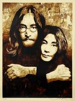 Shepard Fairey, ''John & Yoko Canvas'', 2010, Print, Screen print on cream, Speckletone fine art paper., Signari Gallery