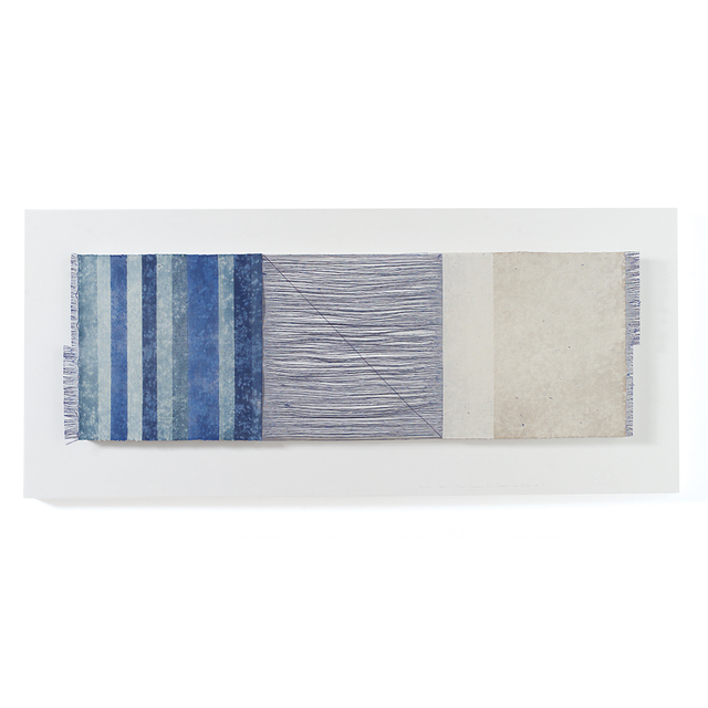 , 'Grinded Fabric-Three Squares Blue Threads and Blue #689,' 2005, browngrotta arts
