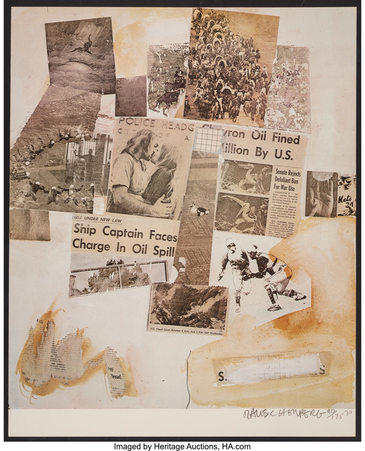 Robert Rauschenberg, 'Ship Captain Faces Charge in Oil Spill, from Peace Portfolio I', 1970, Print, Offset lithograph in colors on paper, Heritage Auctions