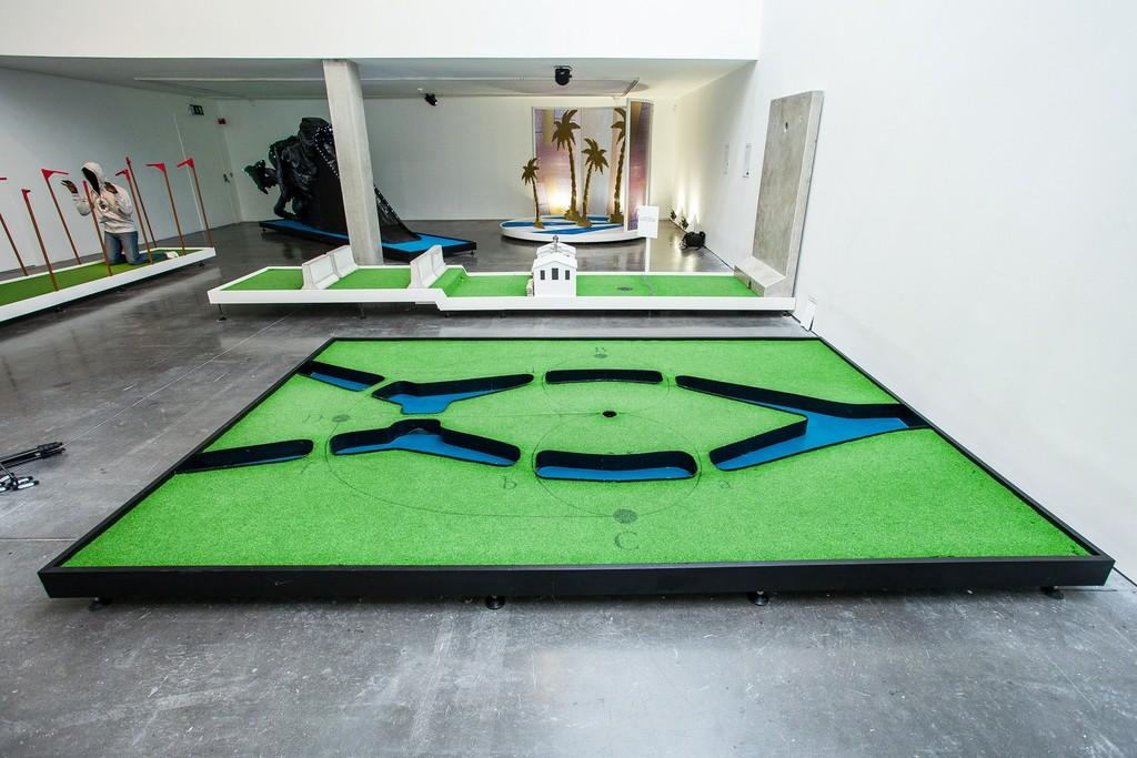 "Installation view of ""Doug Fishbone's Leisure Land Golf"" at New Art Exchange, Nottingham (2016) Photo by Bartosz Kali"