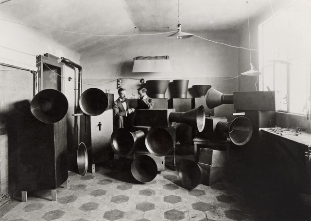 , 'Luigi Russolo and his assistant Ugo Piatti in his studio with the intonarumori (noise machines), Milan,' 1914-1915, Vancouver Art Gallery