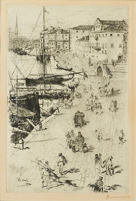 Frank Duveneck, 'Riva degli Schiavoni II', 1880, Print, Drypoint on chine applique paper (framed), Rago/Wright