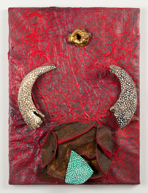 Michael Buthe, 'Torro', 1992, Painting, Mixed media, horns, stone on canvas, Alexander and Bonin