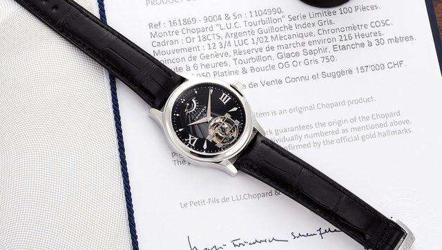 CHOPARD, 'A fine and rare platinum wristwatch with tourbillon, 8-Day power reserve indicator, certificate and presentation box, numbered 31 of a limited edition of 100 pieces', Circa 2008, Phillips