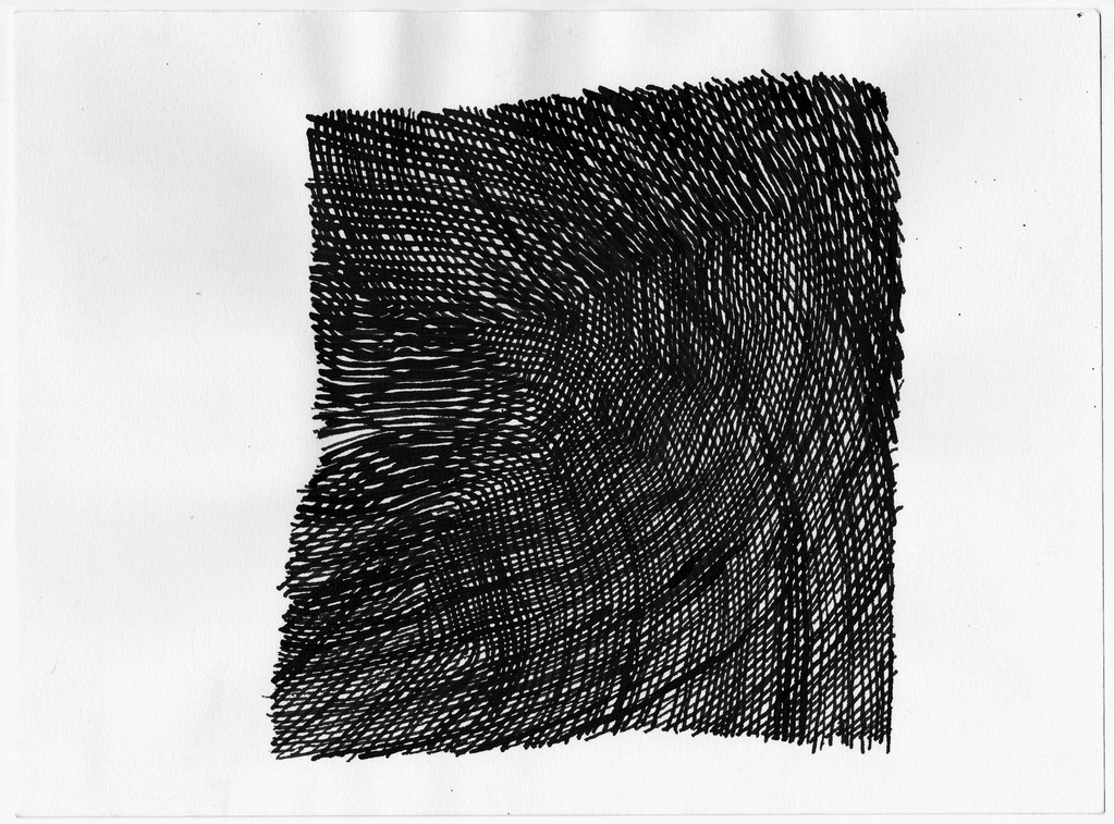 "Carl Goldhagen ""Attempt at Paralleling the first line,"" 03/25/06 sumi ink on paper 15 7/8"" x 13"""
