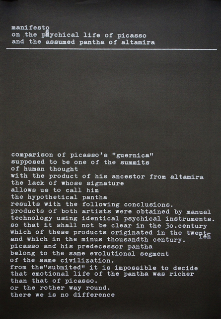 , 'manifesto on the psychological life of picasso and the assumed pantha of altamira (in English),' 1977, Aanant & Zoo
