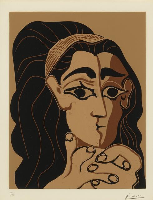 Pablo Picasso, 'Portrait de Jacqueline au bandeau, accoudée (B. 1081; Ba. 1306)', 1962, Print, Linoleum cut printed in colors, Sotheby's