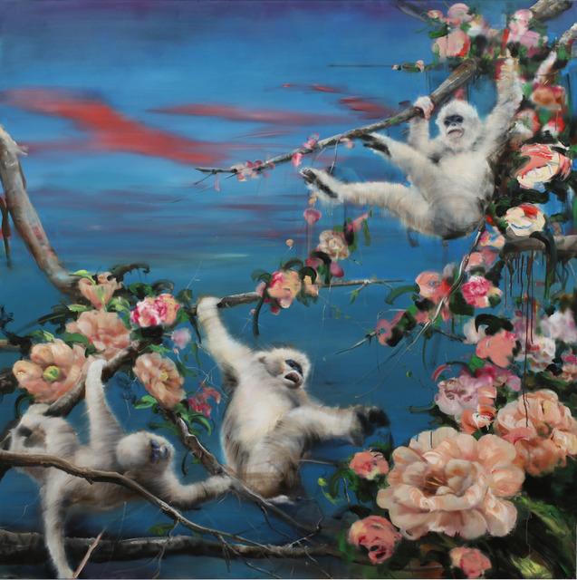 Li Tianbing, 'White monkeys play in the flower sea', 2019, JD Malat Gallery