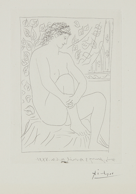 Pablo Picasso, 'Femme nue assise devant un rideau (Nude Woman Sitting in Front of a Curtain), plate 4 from La suite Vollard', 1931, Phillips