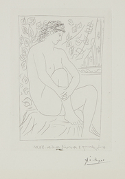 Femme nue assise devant un rideau (Nude Woman Sitting in Front of a Curtain), plate 4 from La suite Vollard