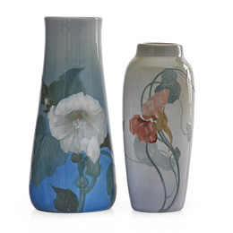 Two Iris Glaze vases with hollyhock and nasturtium, Cincinnati, OH