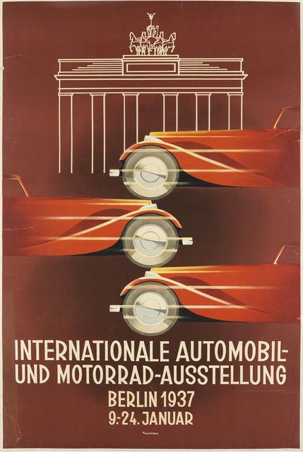 Ottomar Anton, 'INTERNATIONALE AUTOMOBIL - UND MOTORRAD - AUSSTELLUNG', 1937, Swann Auction Galleries