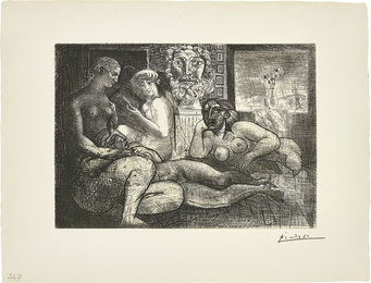 Quatre femmes nues et tête sculptée (Four Nude Women and a Carved Head), plate 82, from La Suite Vollard