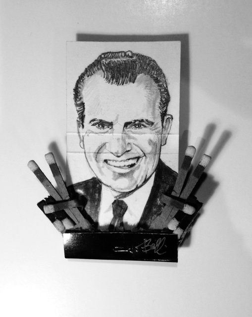 matchbox artists, 'Richard Nixon', 2015, Drawing, Collage or other Work on Paper, Graphite on matchbox, unique in a series, Muriel Guépin Gallery