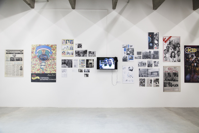 ", 'Installation view of ""Saving Bruce Lee: African and Arab Cinema in the Era of Soviet Cultural Diplomacy (A Prologue)"",' 2015, Garage Museum of Contemporary Art"