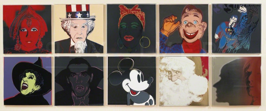 "The  1981 ""Myths"" miniature suite of offset lithographs by Andy Warhol represents well known images rooted from ancient beliefs, folklore, allegorical tales, and are based on traditional stories and media creations. They represent fantasies, dreams, hopes and fears. Included in the series are: Dracula, Howdy Doody, Mammy, Mickey Mouse, Santa Claus, Superman, The Shadow, The Star, The Witch and Uncle Sam. Most of Warhol's myths are derived from photographs he has taken especially for this series."