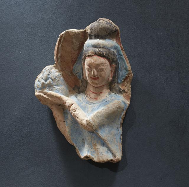 , 'Celestial Maiden (apsara), holding a lotus blossom,' mid-6th century, Princeton University Art Museum